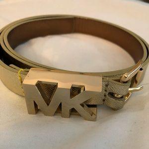 MK Michael Kors Gold lame belt